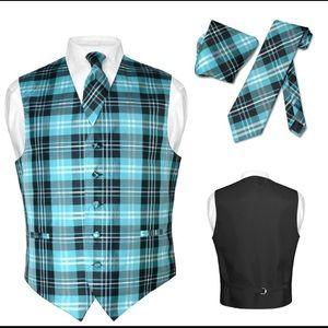 Men's Plaid Dress Vest NeckTie for Suit Tux Blue